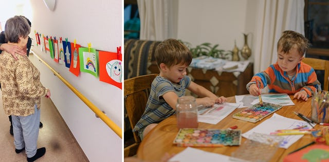 Left: Children in Berlin, Germany, who participate in Baha'i education classes, have made drawings on the theme of hope for the residents of a home for the elderly. Right: Children in New Zealand painting at home.