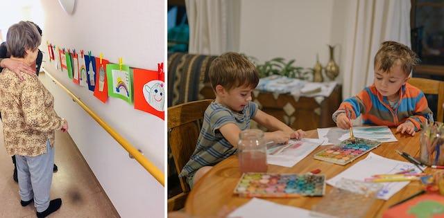 À gauche : Des enfants à Berlin, en Allemagne, qui participent aux classes d'enfants bahá'íes, ont fait des dessins sur le thème de l'espoir pour les résidents d'une maison de retraite. À droite : Des enfants en Nouvelle-Zélande peignent à la maison.