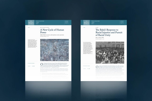 """Two new articles have been published on The Bahá'í World website, entitled """"A New Cycle of Human Power"""" and """"The Bahá'í Response to Racial Injustice and Pursuit of Racial Unity: Part 1 (1912-1996)""""."""