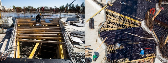 The formwork has been laid for the concrete floor of the central plaza.