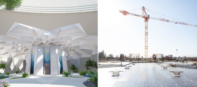 The architect's design on the left shows the central structure and surrounding plaza. Current progress on the plaza floor can be seen on the right, where preparations are underway to raise the walls that will enclose this area on two sides.