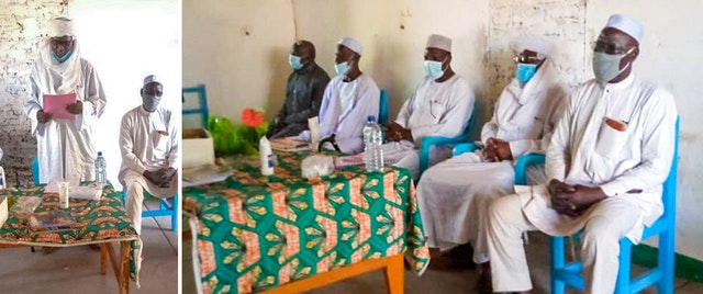 The head chief of the Baro area (left) and other dignitaries address the gathering of traditional chiefs.