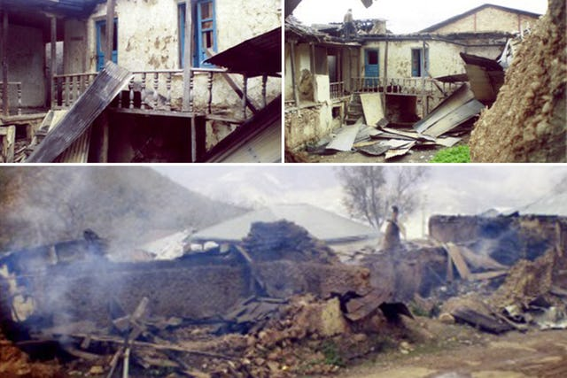 Over many years, Bahá'í-owned properties in Ivel, Iran, have been attacked and unjustly confiscated, displacing dozens of families and leaving them economically impoverished. These images show a home that was burned in 2007.