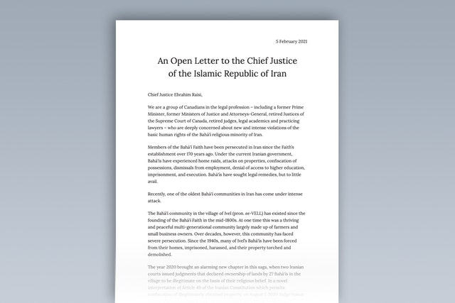 """An open letter to the Islamic Republic of Iran's Chief Justice, Ebrahim Raisi, signed by more than 50 high-ranking legal professionals in Canada, expresses deep concern regarding """"new and intense violations"""" of the human rights of Iran's Bahá'í community."""