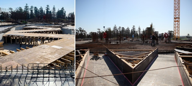 In one of the final stages of preparation for the floor of the central plaza, formwork is put in place for paths among the planters that will hold soil and irrigation for the gardens.