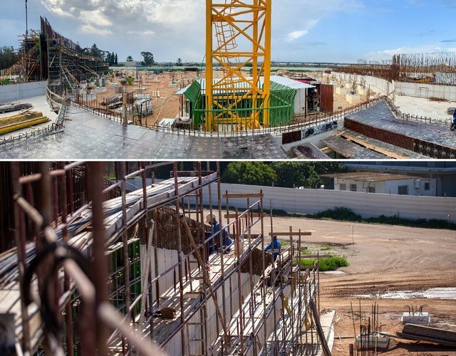 Top: View from the central plaza area toward the south plaza. Bottom: The curved portal wall that will enclose the south plaza takes shape.
