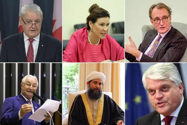 Leading Muslims, government officials, and parliamentarians around the world have joined a growing outcry at the unjust confiscation of properties owned by Bahá'ís in the Iranian farming village of Ivel. Pictured here are, clockwise from top left: Canadian Foreign Minister Marc Garneau; Annika Ben David of the Swedish Foreign Ministry; Jos Douma, the Netherlands' Special Envoy for Religion or Belief; Markus Grübel, Germany's Commissioner for Global Freedom of Religion; Shaykh Ibrahim Mogra of the UK; and Brazilian Member of Parliament Frei Anastácio.