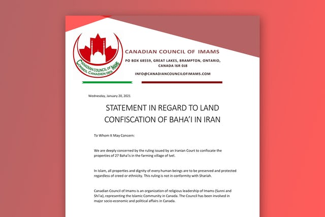 A statement of the Canadian Council of Imams in support of the Bahá'ís in Ivel.