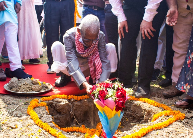 Ground was broken today for the first local Bahá'í House of Worship in India. Soil collected from villages across the state of Bihar was placed in the ground of the temple site, evoking the connection between the thousands of residents of these villages and the House of Worship.