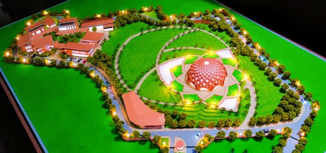A scale model of the design for the temple and surrounding facilities was presented at the groundbreaking.