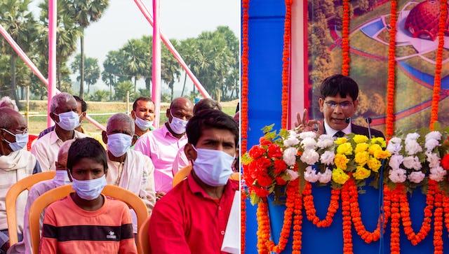 La cérémonie inaugurale marquant le début de la construction de la maison d'adoration locale de Bihar Sharif, en Inde, a rassemblé des dignitaires locaux, des représentants de la communauté bahá'íe et des habitants de la région.