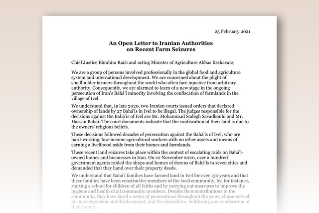 """In an open letter to Iran's Chief Justice Ebrahim Raisi and acting Minister of Agriculture Abbas Keshavarz, figures in the field of agriculture from several countries across the world—including Canada, Ethiopia, Mali, and the United States—say they are speaking out because they """"are concerned about the plight of smallholder farmers throughout the world who often face injustice from arbitrary authority."""