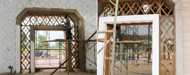 The interior and exterior of the temple's nine doorways are being decorated with wood and paster. The latticework around each door is being prepared at a workshop in the Matunda Soy area and is made from mvule, a wood native to eastern Africa.