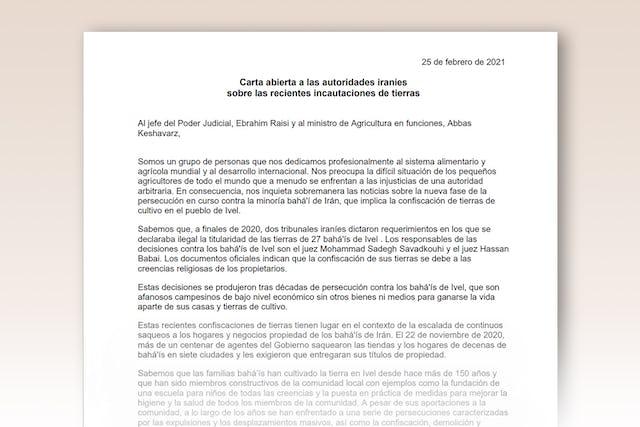En una carta abierta  al jefe del Poder Judicial de Irán Ebrahim Raisi y al ministro de Justicia en funciones Abbas Keshavarz, destacadas figuras del ámbito de la agricultura de varios países del mundo, entre ellos Canadá, Etiopía, Mali y Estados Unidos, dicen que alzan la voz motivados por «la preocupación ante la dramática situación de los pequeños agricultores de todo el mundo que  con frecuencia se han de enfrentar a las tropelías de una autoridad abusiva».