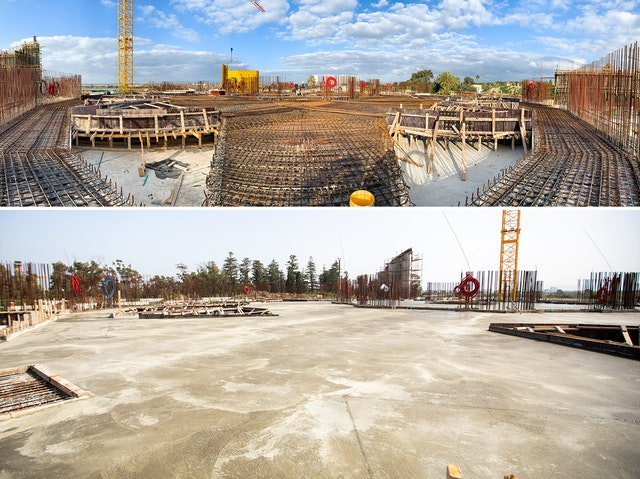 Views of the central plaza area before (top) and after (bottom) this week's work.