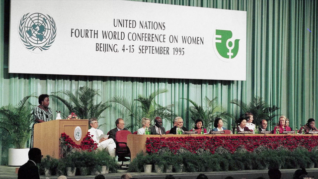 Pictured here is the 1995 World Conference on Women in Beijing. This year's CSW, which is being held online, is the largest gathering since the Beijing conference involving governments and civil society organizations in advancing the discourse on gender equality.