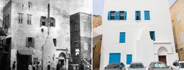 A historic (left) and current (right) view of the east façade of the house. This is the part of the house first occupied by Bahá'u'lláh and his family—known as the House of 'Údí K̲h̲ammár—with the room (at upper-left) where Bahá'u'lláh revealed the Kitáb-i-Aqdas, the Most Holy Book of the Bahá'í Faith.