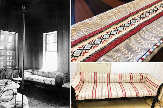 Un ensemble de canapés de la maison ont été restaurés pour retrouver leur aspect d'origine. Le motif de la tapisserie a été recréé à partir de quelques photographies et utilisé par un producteur de textile pour reproduire le tissu.
