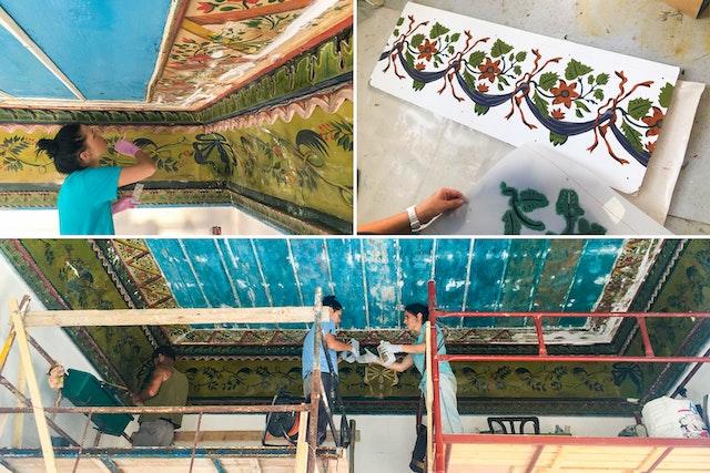 Une des pièces présente un plafond aux motifs magnifiques et une frise complexe peinte sur des panneaux de zinc. Les restaurateurs ont documenté le motif de la frise, réparé les panneaux et restauré les peintures, une remarquable conservation d'une œuvre d'art de l'époque ottomane.