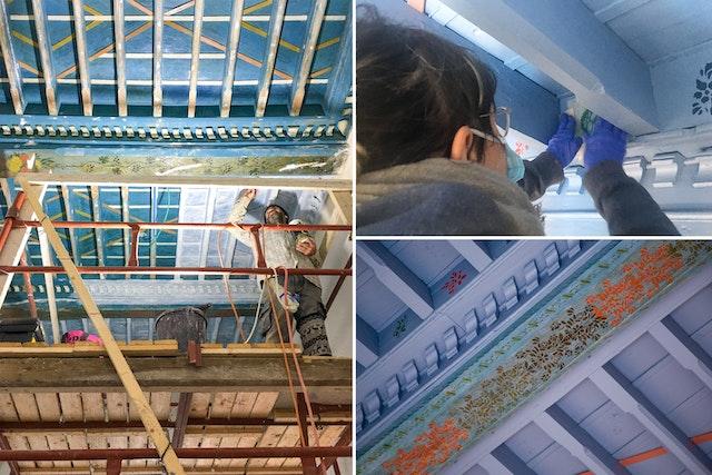 Les motifs du plafond d'une autre pièce de la maison qui s'étaient effacés au fil du temps ont été restaurés.
