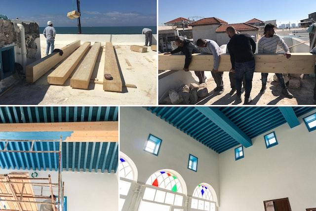 Les poutres en bois du toit de tout le bâtiment ont été réparées et renforcées à certains endroits avec de l'acier inoxydable.