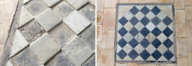 An example of restored stonework in the building.