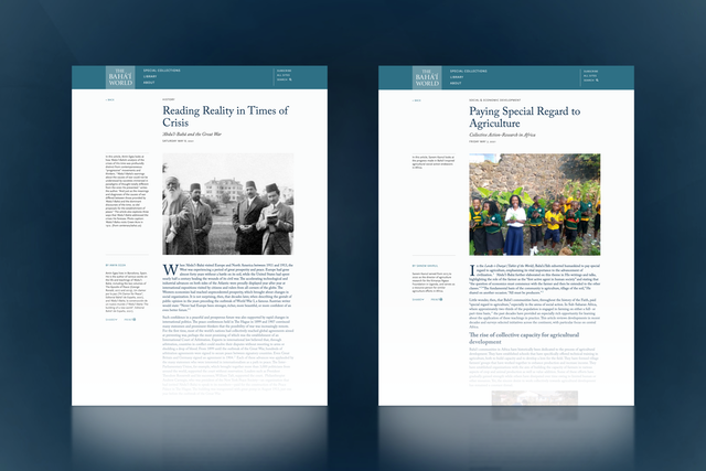 """The Bahá'í World online publication releases two new articles, """"Reading Reality in Times of Crisis: 'Abdu'l-Bahá and the Great War"""" and """"Paying Special Regard to Agriculture: Collective Action-Research in Africa."""""""