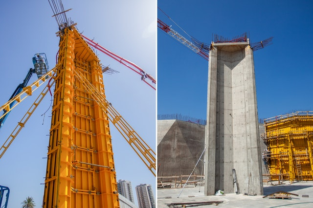 The first completed column is seen in the right image. To the left is work on the second column, which was completed last week.