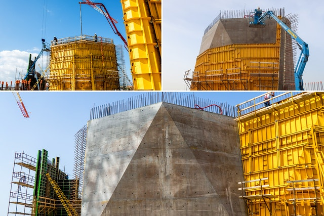 The steel formwork, seen in yellow, is assembled in place. Concrete is then poured and is allowed to set. The formwork is finally taken apart and reused for the next segment.