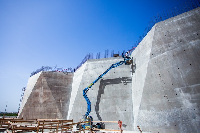 The folding walls will later be clad with stone.