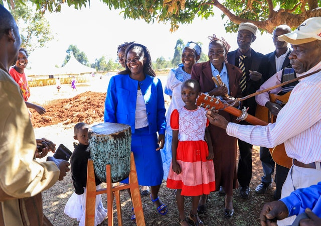 Photograph taken before the current health crisis. Residents of Matunda Soy gathered at the groundbreaking ceremony for the temple construction project in March 2019.