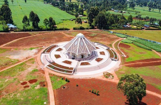 An aerial view of the local Bahá'í House of Worship in Matunda Soy, Kenya.