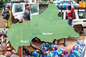 Members of an emergency committee established by the Bahá'í National Spiritual Assembly of the C.A.R. drove hundreds of kilometers from Bangui, the capital, to the town of Bambari, stopping in towns along the way to provide essentials.