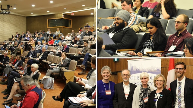 Photographs taken before the current health crisis. Over the past few years, the Canadian Bahá'í community has been involved in organizing numerous conferences and other spaces to discuss the place of religion in public life and religion's contribution to the betterment of society. Shown here is a yearly conference called Our Whole Society.