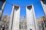 Shrine of 'Abdu'l-Bahá: Pillars of main edifice completed