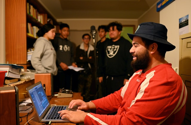 In-person gatherings held according to safety measures required by the government. A recording session in which youth from the Manurewa neighborhood of Auckland are creating songs to inspire action for the wellbeing of their community.