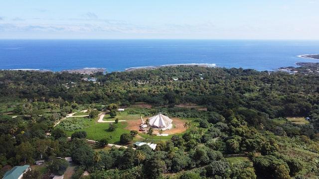 An aerial view of the Bahá'í House of Worship in Tanna.