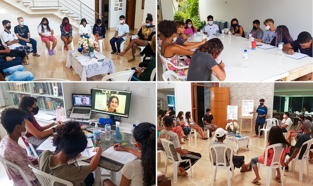 Different groups of youth from Vila do Boa participating in Bahá'í educational programs that develop their capacity to analyze social reality, identify the needs of their communities, and undertake activities for social action.