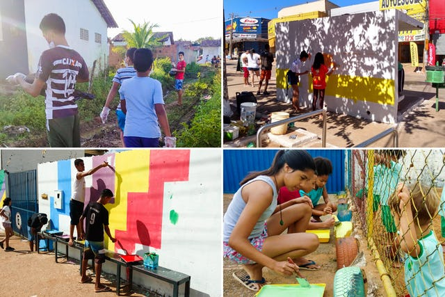 Youth across Brazil who are engaged in Bahá'í educational programs undertaking different activities of social action for the well-being of their communities.