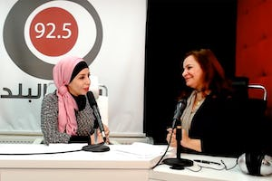 Taghreed Al Doghmi, an anchor at Radio Al-Balad, and Tahani Ruhi of the Bahá'í Office of External Affairs exploring the potential of the media as a force for social progress.