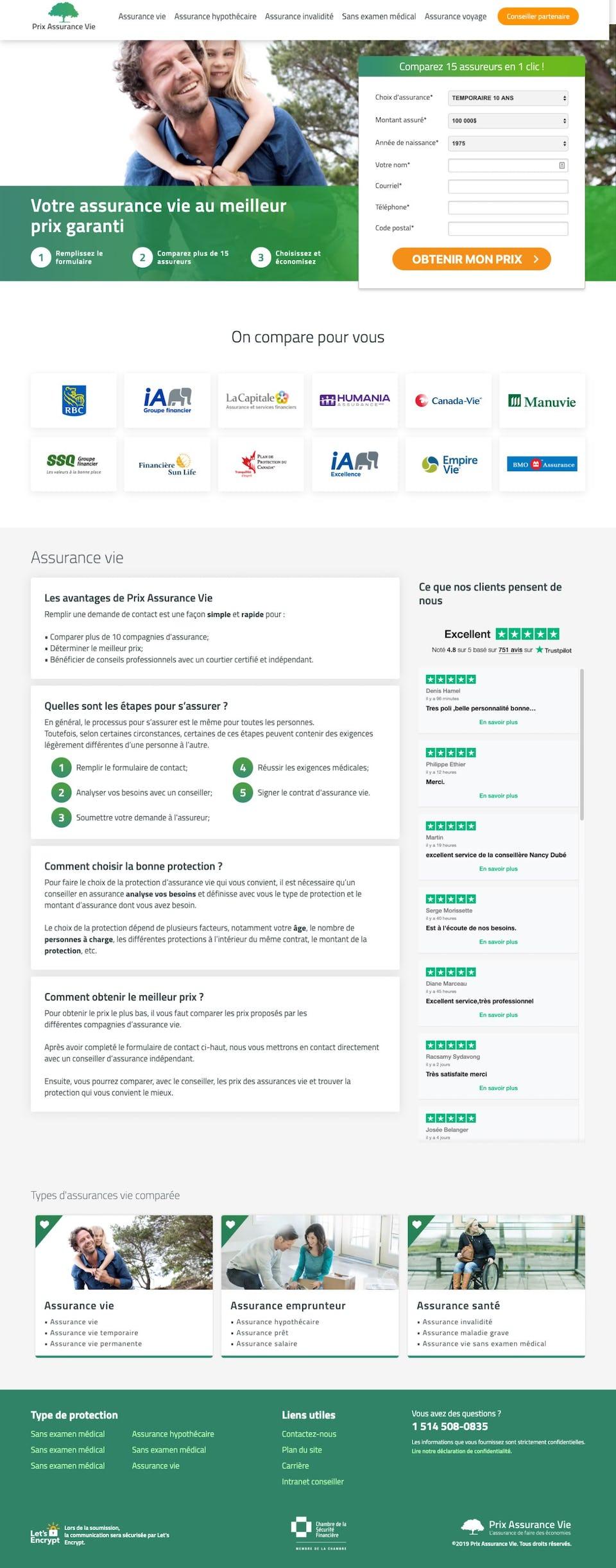 webflow project 2 - Prix Assurance Vie