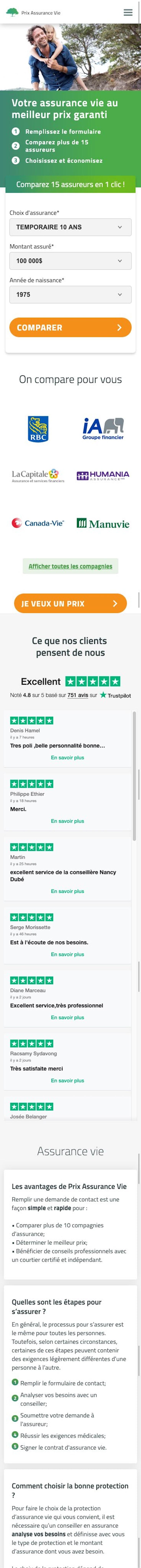webflow project 3 - Prix Assurance Vie