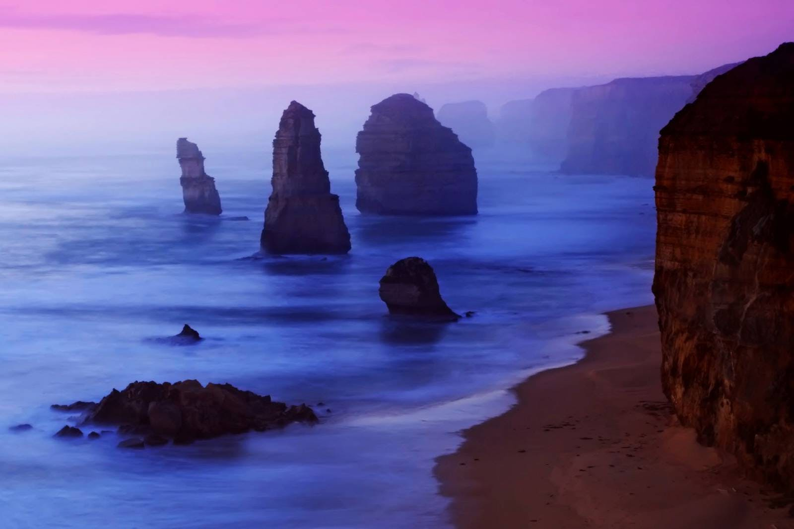 great ocean road at sunset