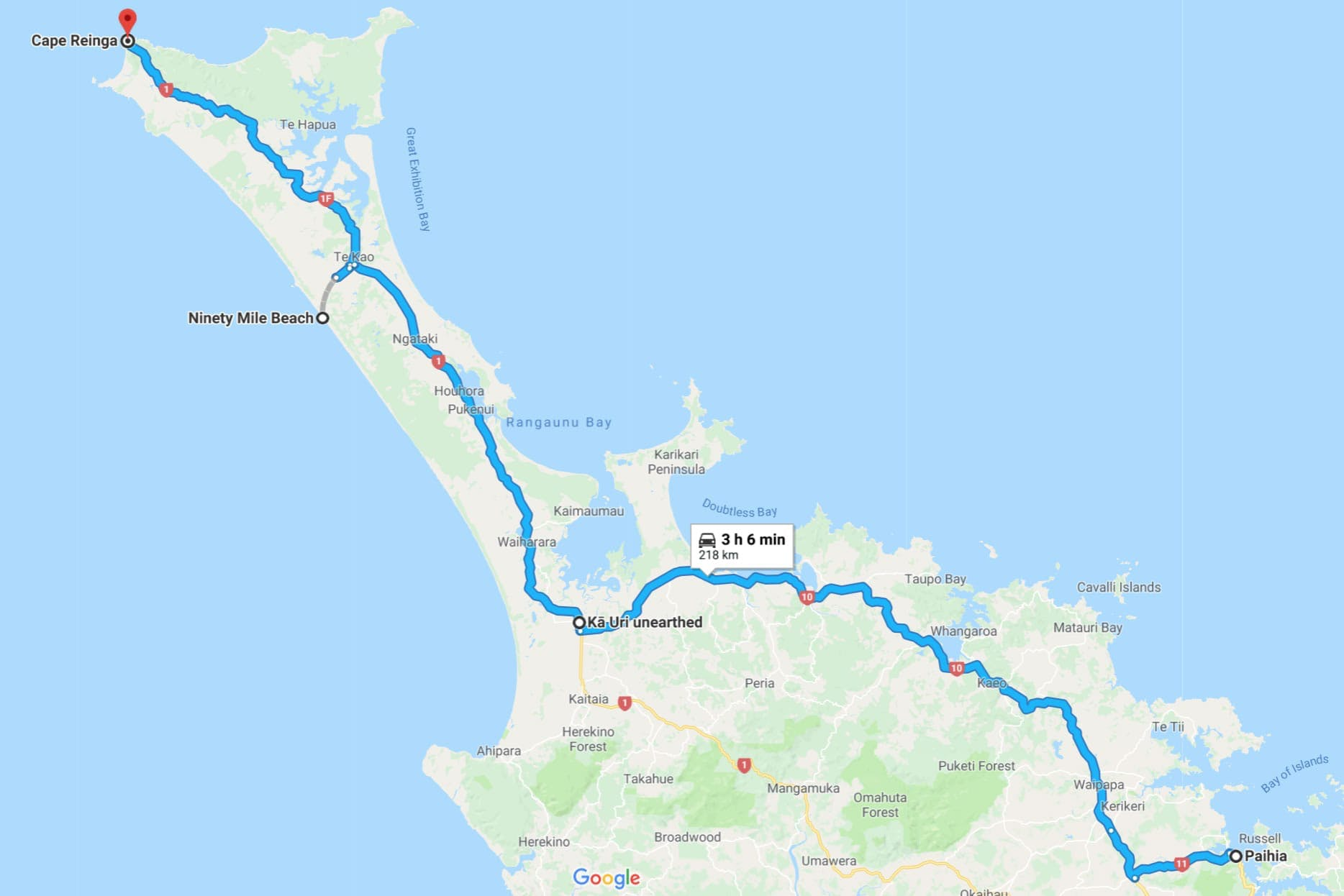 paihia to cape reinga road trip map