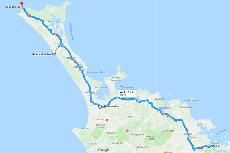 paihia to cape reinga road trip map