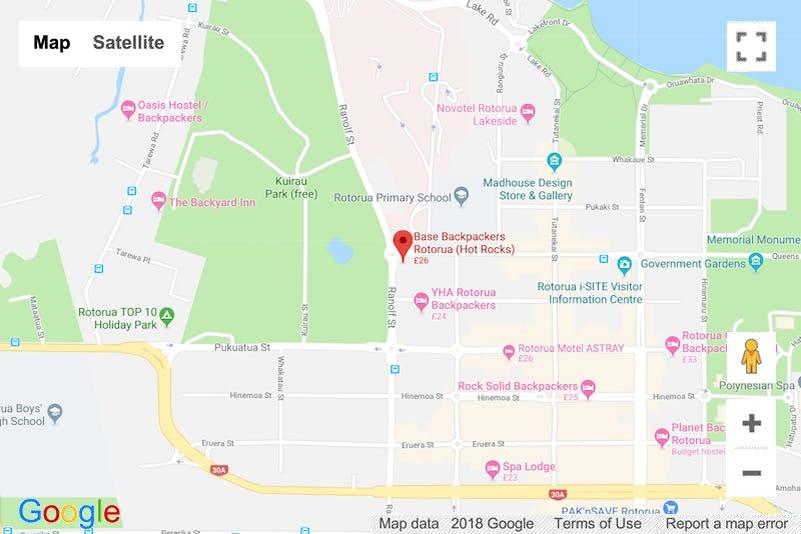 Map Of Rotorua New Zealand.Base Backpackers Rotorua Hostel In The Maori Capital Of Nz