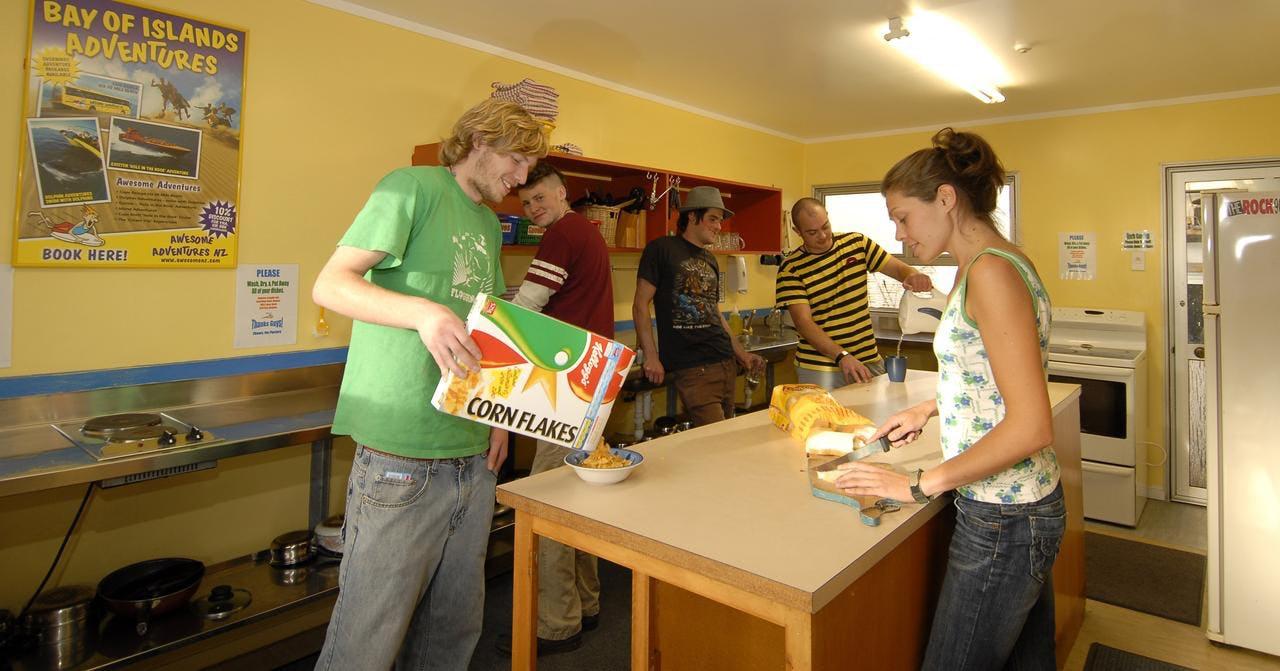kitchen at base bay of islands hostels