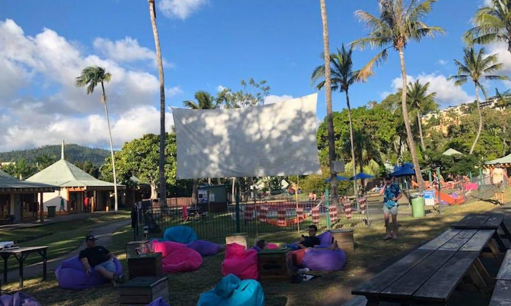 base backpackers airlie beach big screen