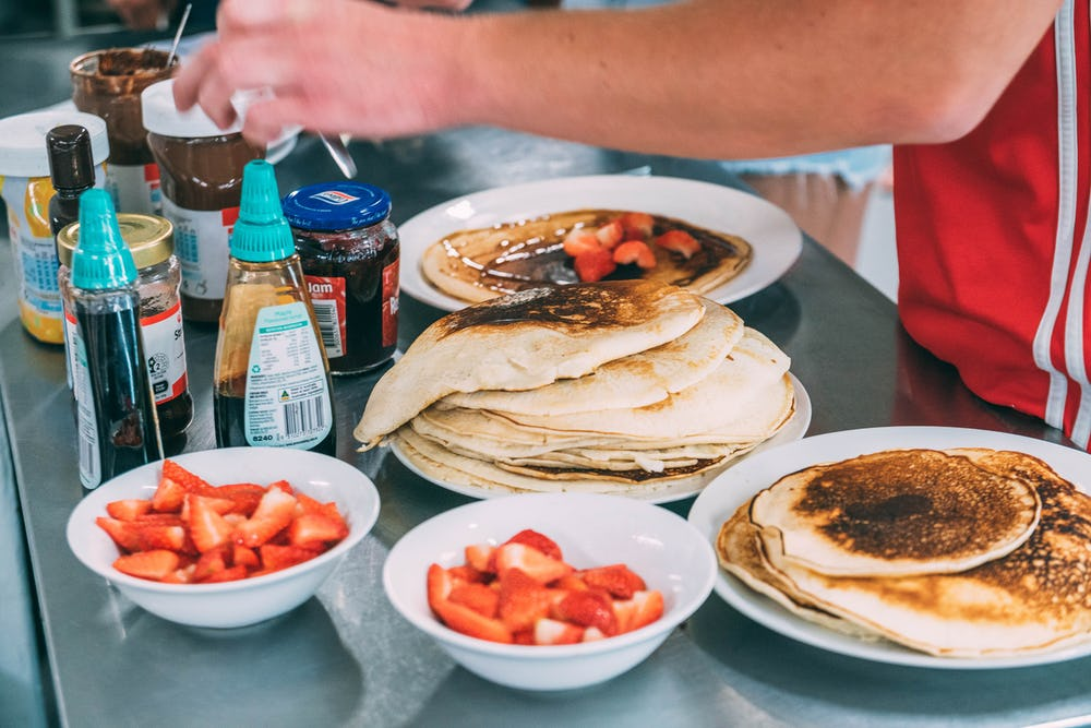pancake breakfast at base sydney backpackers