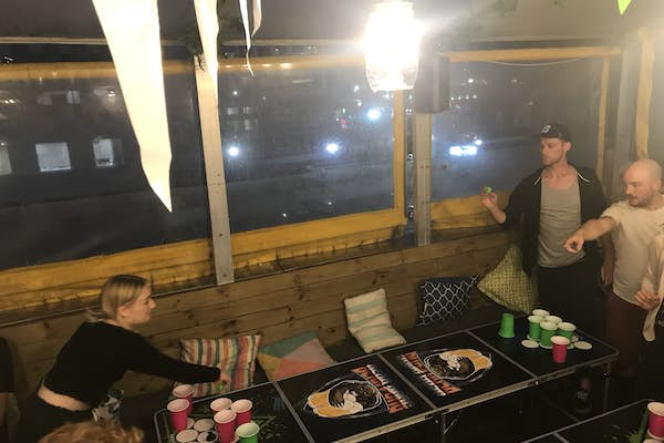 beer pong at hello sunshine bar auckland hostel